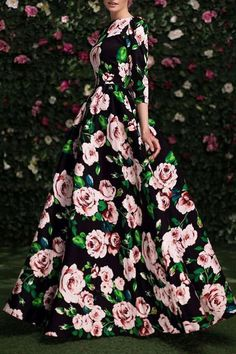 3/4 Sleeve Floral Print Maxi Dress