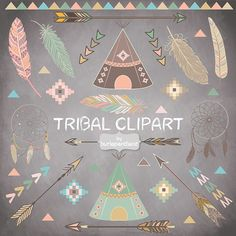 Chalkboard Tribal clipart feathers Teepee Tents от 1burlapandlace