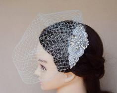 Birdcage Veil Blusher Veil rhinestone pearl fascinator headpiece wedding hair style bridal ideas headpiece