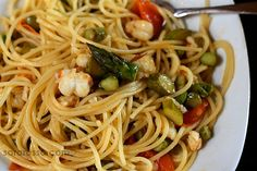 Spiny Lobster Tail and Asparagus Pasta Recipe — Ms. Adventures in Italy Veggie Recipes, Seafood Recipes, Pasta Recipes, Healthy Recipes, Veggie Food, Lobster Season, Asparagus Pasta, Lobster Tails, Pasta Noodles