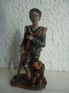 FIGURA DE BELEN PASTOR CON PERRO FIEL.