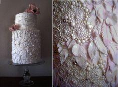 beaded cake design Pearl-beading-feathers-cake Megan Joy Wedding Cakes