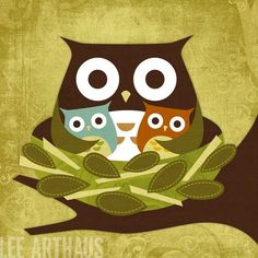 Retro Boy Girl Twin Owls