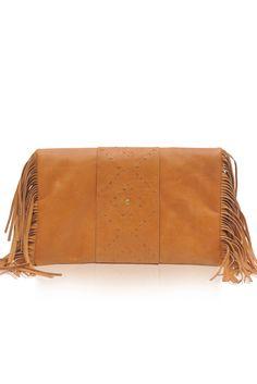 Serenity. Bohemian leather fold-over fringe clutch. – ELF