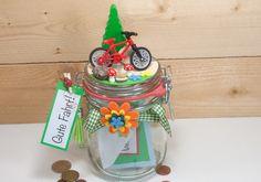 Geschenkglas mit einem roten Fahrrad. Tolles Glas zum Thema: Radreise, Rad Urlaub, Fahhrad, Zubehör, Trekking und und und. Geld einfüllen oder Gutschein dazu und Dein witziges Geschenk ist...