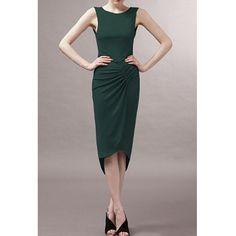 $13.22 Solid Color Irregular Hem Round Collar Sleeveless Pleated Elegant Style Women's Dress