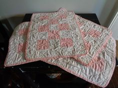 Vintage Doll Quilts, Pink and White by FairchildsInc on Etsy