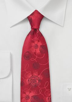 Valentine's Day Gifts for Him Under $20: Rose Patterned Tie in Bright Red, $20 | Cheap-Neckties.com