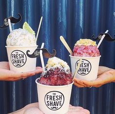 Shave ice flavors from The Fresh Shave Kauai