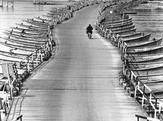 Boats Bridge on the Po river 1971 by Pepi Merisio