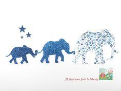 Appliqués thermocollants 3 Eléphants en liberty Adelajda et tissus pailletés. : Ecussons, appliques par il-etait-une-fois-le-liberty