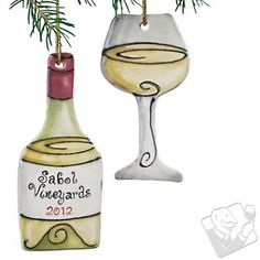 Personalized White Wine Bottle and Wine Glass Ornament (Set of 2) at Wine Enthusiast - $29.95