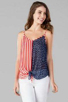 Liberty lane stars & stripes tank of july outfits, mom outfits, satin 4th Of July Outfits, Mom Outfits, Women Clothing Stores Online, Librarian Style, Striped Tank, Summer Trends, Dress To Impress, Dress Up, Feminine