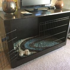 DIY furniture dog crate tv stand dog bed