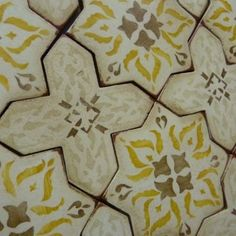 Handmade terracotta tile, reclaimed wood, and unique stone by Tabarka Studio. Tile handmade and hand painted by artisans. Star Patterns, Print Patterns, Tabarka Tile, Entry Tile, Stucco Walls, Stenciled Floor, Tile Decals, Simple Furniture, Handmade Tiles