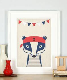 Kinderzimmerdekoration - Retro Poster, Tolles Pirat Dachs Poster, Bild - ein Designerstück von emugallery bei DaWanda