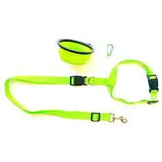 Dog Leash Hands Free For Running Walking Hiking & Dog Bowl Collapsible Foldable Travel & Free Carabiner Green @@@ You can find out more about the great product at the image link. (This is an affiliate link and I receive a commission for the sales)