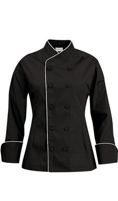 Women's Imperial Chef Coat - Contrast Piping - 100% Cotton $27.99…