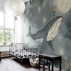 Little Hands Wallpaper - made by measure Nursery Room, Boy Room, Kids Bedroom, Whale Nursery, Bedroom Murals, Bedroom Decor, Little Hands Wallpaper, Br House, Wall Painting Decor