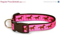 ON SALE Horse Dog Collar - Pink and Brown Horses - Made to Fit Your Dog