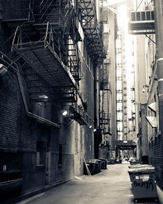 Black and White Photography Chicago Alleyway 8x10