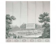 Zuber,  panoramic panel of Les Courses de Chevalier