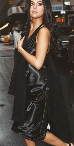 Silky silks and NYC  Outfit inspo from #selenagomez #streetstyle
