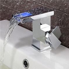 Zeitgenössische Farbwechsel Wasserfall Bad Waschtischarmatur (verchromt)