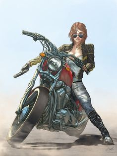 Motorcycle girl illustration by Juan Nitrox Marquez. [ more motorcycle art | Juan Nitrox Marquez DeviantArt ]