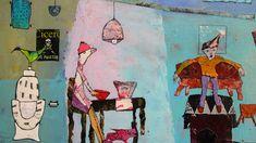 Elke Trittel detail acrylics,collage on board 50/50cm