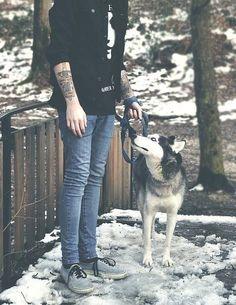 snow, haski, tattoo