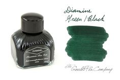 80ml bottle of Diamine Green/Black fountain pen ink.<br><br><i>Please note: Diamine is currently transitioning to a new bottle design. At this time our stock is mixed, so what you receive may vary from what is pictured.</i><br>