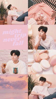 aesthetic wallpaper pink collage (Park Seo-joon) Source by Asian Actors, Korean Actors, Park Hyungsik Wallpaper, Seo Kang Joon Wallpaper, Kdrama, Ahn Hyo Seop, Joon Park, Wallpaper Aesthetic, Aesthetic Backgrounds