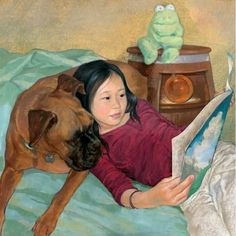 Lin Wang, Cute girl and her dog reading in bed