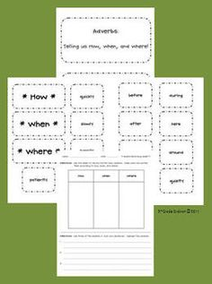 This center can help students identify and sort adverbs.  The center includes 4 pages:  title page, directions, headings (how, when, there), 13 adv...
