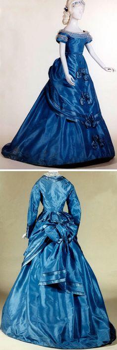 Dress, ca. 1869-1870. Silk satin and taffeta; lace. Musées Royaux d'Art et d'Histoire, Belgium