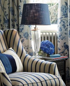 Laura Ashley home furnishings draw beauty from the English Countryside, with designer fabrics, wallpaper & decor for every room. Blue Rooms, Blue Bedroom, White Rooms, Bleu Royal, Royal Blue, Blue And White Fabric, Blue Cushions, White Cottage, Classic Interior
