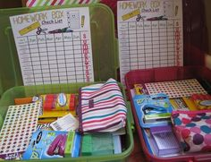 """Make a """"homework box"""" with all the supplies needed to do homework organized and kept in one place!"""