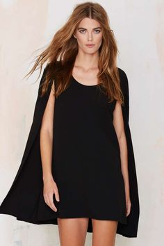 Nasty Gal Catherine Cape Dress - Newly Added | Best Sellers | Back In Stock | Going Out | Shift | LBD | Solid | Dresses | Dresses | Dresses | Dresses | Clothes | All | LBD | All