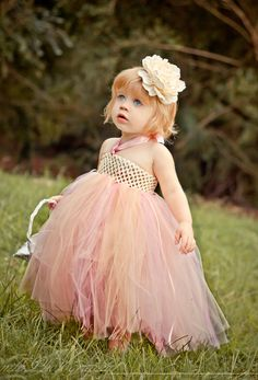 Flower Girl Tutu Dress-Flower Girl Dress-Toddler Tutu Dress-Baby Tutu Dress Ivory and Light Pink Flower Girl Tutu Dress. $38.99, via Etsy.