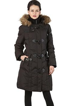 BGSD Womens Water Resistant Quilted Down Toggle Coat  Black M ** You can find out more details at the link of the image.