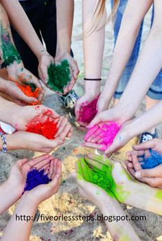 Hackleman's Happenings: How To Make Your Own Colored Powder.  I threw a surprise birthday party for my 15 year old son.  We had a color powder war at the local volleyball court.  It was so much fun!  http://fiveorlesssteps.blogspot.com/2014/06/how-to-make-your-own-colored-powder.html