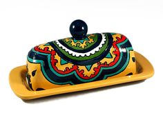 Yellow Green Teal & Red Talavera Style Butter Dish by TheTikiQueen, $42.95