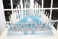 Check out Brittney's Winter Wonderland Sweet 16 candle holder we made. We can make any theme or color Sweet Sixteen candle holder for your party. Check out more of our Sweet 16 candle holders at http://www.supersweetsixteens.com/sweet_16_candle_holders.html