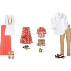 What to wear inspiration for your summer family session. Neutrals and coral.