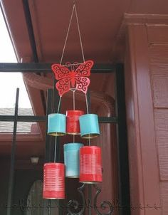 Up-cycled wind chime #diy #crafts @Kassie Alderson Kauffeld @ Coffee and their Kisses  Love the red and turquoise of course! :)