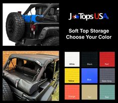 JTops USA makes premium-quality custom Jeep Wrangler accessories. We're your one-stop-shop for shade tops, storage boots, headliners, tonneau covers, and more. Jeep Wranger, Jeep Jku, Jeep Wrangler Soft Top, Wrangler Jl, Jeep Wrangler Accessories, Jeep Accessories, Jeep Tops, Boot Storage, Custom Jeep