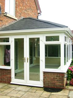 Large Tiled Conservatory Roof, Supalite with Charcoal Metrotiles, installed on top of existing UPVC White Framework with White Guttering Tiled Conservatory Roof, Small Conservatory, Conservatory Dining Room, Conservatory Extension, Conservatory Design, Bungalow Extensions, House Extensions, Sunroom Windows, Sunroom Addition