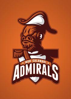 Star Wars Sports Team Logos /// Mon Calamari Admirals /// by WanderingBert / David Creighton-Pester (via Society6)
