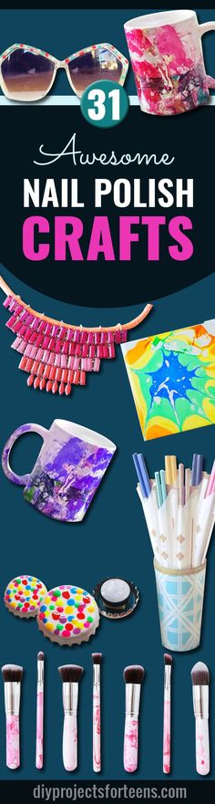 Cool DIY Projects and Fun Crafts Using Nail Polish – Fun, Easy and Cheap DIY Ideas are Cute DIY Gifts and Teen Craft Ideas for Teens and Tweens diyprojectsfortee… (Cool Bedrooms For Teen Girls) Diy Crafts For Teens, Diy And Crafts Sewing, Crafts To Sell, Fun Crafts, Arts And Crafts, Craft Ideas, Crafts Cheap, Room Crafts, 31 Ideas